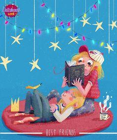 Compartiendo lectura entre amigas: una lee y otra escucha (ilustración de Beatrice Blue)