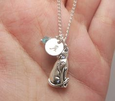 Cat Necklace Initial Necklace Cat Jewelry Sterling by MadiesCharms