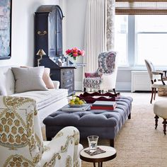 Living Room: pulling navy in from entry & family into upholstered and/or navy painted pieces as common thread