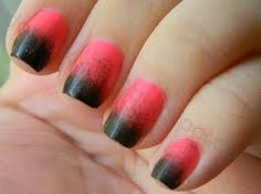 Pink and black french nails