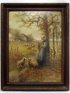 Francis William Vreeland Original Watercolor Painting Woman Watching Sheep