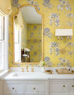Home Tour: Elevated Charm In Buckhead, Georgia gold bamboo mirror in powder room with yellow floral wallpaper wallpaper 54043264265863935 Home Design Decor, Bathroom Interior Design, House Design, Modern Interior, Design Interiors, Scandinavian Interior, Interior Styling, Baños Shabby Chic, Espace Design