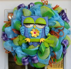 Spring Owl Deco Mesh Wreath by HolidaysAreSpecial on Etsy, $82.00
