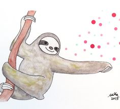 Magic Sloth Illustration Print Cute Sloth Watercolor by mikaart $8.99+