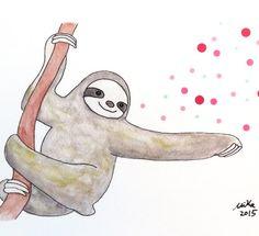 Magic Sloth Illustration Print Cute Sloth Watercolor by mikaart