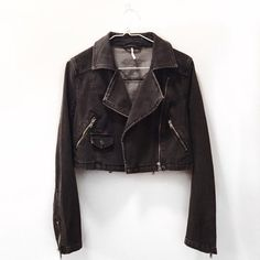 ✨LOWEST✨ Free People Cropped Denim Moto Jacket New without tags. Never worn. Free People Jackets & Coats Jean Jackets