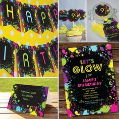 Neon Glow Party Printables Set - Instantly Downloadable and Editable File - Personalize at home with Adobe Reader