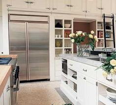 Kitchen - library ladder & cabinets