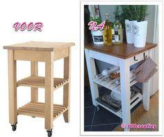 Ikea Kitchen Cart, Portable Kitchen Island, Kitchen Redo, Diy Furniture Hacks, Ikea Furniture, Rustic Furniture, Kitchen Design Gallery, Bbq Table, Cocina Diy