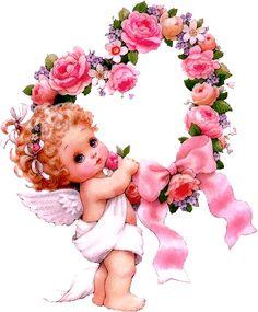 Vintage Valentines, Valentine Crafts, Happy Valentines Day, Angel Images, Angel Pictures, Vintage Cards, Vintage Images, Art Kawaii, Angel Art