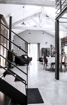 Digging this old paper mill turned loft in France designed by architectural firm Planet Studio. Loft Interior, Interior Exterior, Modern Interior, Home Interior Design, Interior Architecture, Interior Decorating, Design Interiors, Decorating Ideas, Paper Mill