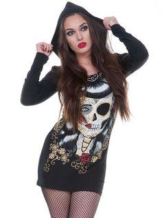 """Women's """"Half Skull"""" Hoodie Dress by Jawbreaker (Black) #InkedShop #hoodiedress #dress #style #fashion"""