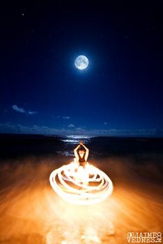 A beautiful shot of the full moon and a fire hoop #fire #dance#beauty Elevate_fire_dance