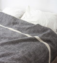 Wool Blanket - Black Heather with Natural Stripe - Brook Farm General Store