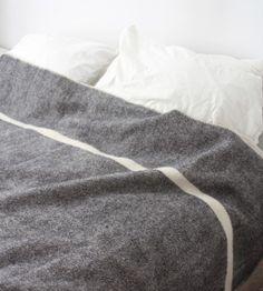 Wool Blanket - Black Heather with Natural Stripe - Brook Farm General Store