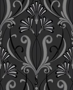 Orianna (M0449) - Vymura Wallpapers - A fantastic Art Deco style design in silver and black with silver glitter for stunning effect. Irridescent inks catch the light giving the paper added glamour. Please order a sample for true colour match. $29