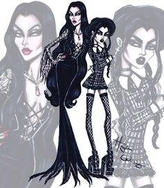 Morticia Addams & Wednesday Addams by Hayden Williams