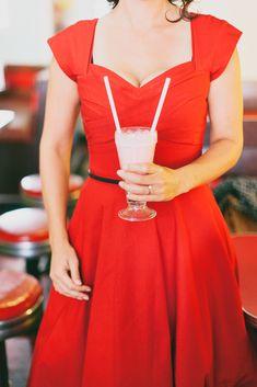 A Stylishly Retro Diner Engagement Shoot by Nicole Sarah Photography Retro Wedding Theme, Wedding Colors, Tea Length Wedding Dress, Wedding Dresses, Sarah Photography, Chic Vintage Brides, Retro Diner, Engagement Shoots, Stylish Outfits