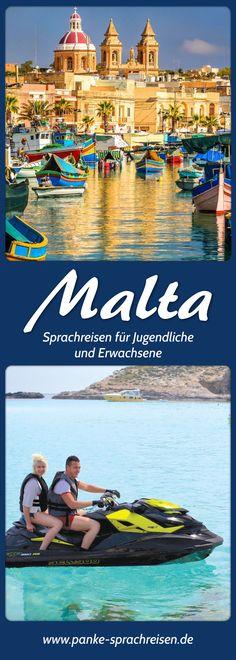 Sprachreisen für Jugendliche und Erwachsene nach Malta. #sprachreisen #malta Malta, Lps, Times Square, Travel, Europe, Young Adults, Language School, Language, Malt Beer
