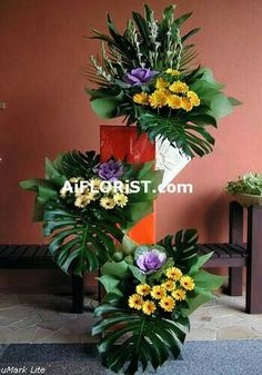 grand arrangement of three tier stand with unique imported flowers perfectly for any official openings Altar Flowers, Church Flowers, Funeral Flowers, Unique Flowers, Exotic Flowers, Beautiful Flowers, Wedding Flowers, Tropical Flower Arrangements, Church Flower Arrangements