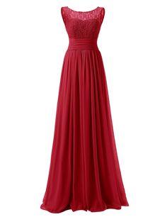 Dresstells® Long Prom Dress Scoop Bridesmaid Dress Lace Chiffon Evening Gown Dark Red Size 4