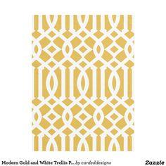 Modern Gold and White Trellis Pattern Fleece Blanket