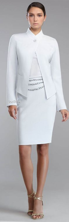 St. John Collection Double-Face Crepe Stand-Collar Jacket, Stretch Silk Drape-Neck Blouse & Double-Faced Crepe Pencil Skirt