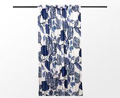 Fransk veckbandslängd Big leaf voile - blå