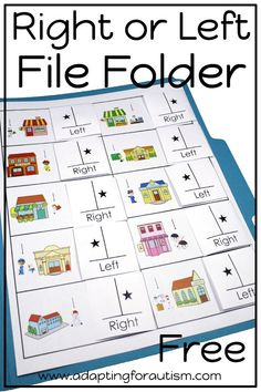 file folder activity pack is full of basic concepts practice for your special education or speech therapy students Try the right or left matching file folder for free Inc. Special Education Activities, Life Skills Activities, Life Skills Classroom, Special Education Classroom, Autism Activities, Elementary Education, Autism Classroom, Work Folders, File Folders