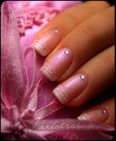 Romantic Lace Nail Art {w/ rhinestone} using Konad stamping kit ~ super easy! I want one!