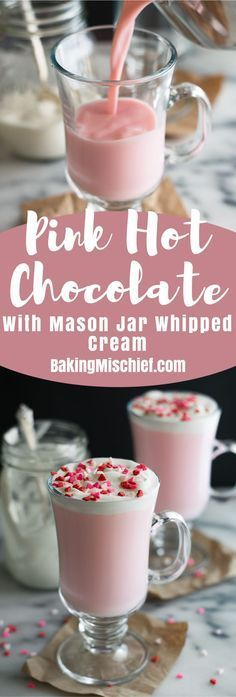 Pink Hot Chocolate with Mason Jar Whipped Cream is the cutest hot chocolate ever, with homemade whipped cream! From http://BakingMischief.com
