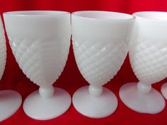 English Hobnail Stems Goblets Six Milk-Glass