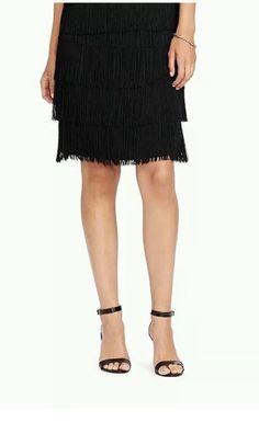 Lauren Ralph Lauren Women's Black Fringed Straight Skirt Size 12 MSRP $150 | eBay