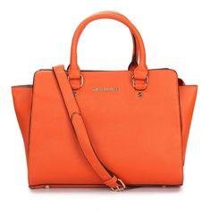 Michael Kors Outlet Selma Top-Zip Large Orange Satchels -Michael Kors factory outlet online sale now up to 80% off!