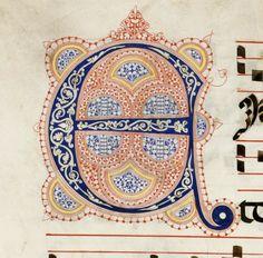 Iniziale E autore: Calligrafo fiorentino (bottega del Torelli?) tecnica: inchiostro e penna