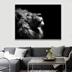 Paintings on Canvas Black White Animal Lion Picture Wall Art for Living Room Home Decor Printed Posters and Prints Stretched and…