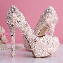 d1dd0928685 2015 vestido de noiva lindo pérola Rhinestone sapatos de noiva sapatos de  salto alto plataforma bombas