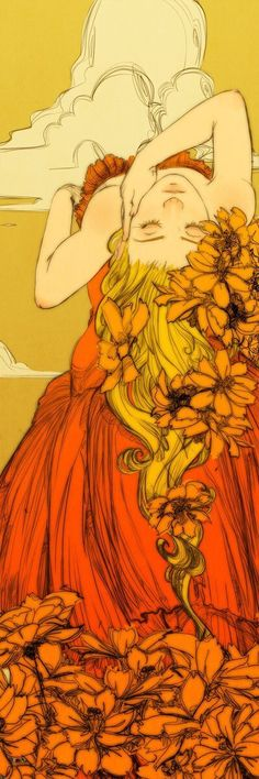 Girl with flowers in hair & lying down with flowers art