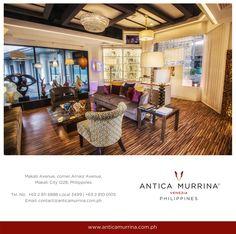 http://www.anticamurrina.com.ph/ STORE LOCATION: Makati Avenue, Corner Arnaiz Avenue, Makati City 1228, Philippines   Monday – Saturday | 11:00 am – 8:00 pm  T +63(0)2 811 6888 Local 3499 T +63(0)2 810 0105 T +63(0)2 893 1529 F +63(0)2 8572043   E: contact@anticamurrina.com.ph