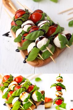 Caprese Skewers With Balsamic Glaze Recipe – light and fresh Caprese salad on a stick. Party style appetizer made with just four main ingredients and wooden skewers. food videos recipes appetizers CAPRESE SKEWERS WITH BALSAMIC GLAZE Pinchos Caprese, Caprese Skewers, Caprese Salat, Bbq Skewers, Fruit Skewers, Snacks Für Party, Appetizers For Party, Appetizer Recipes, Appetizers On Skewers