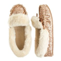 J.Crew girls' glitter shearling lodge moccasins in brass...I'm getting these for myself.