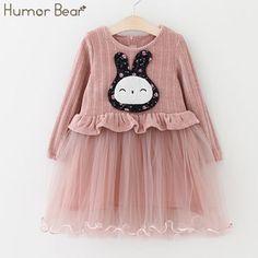 Humor Bear Girls Dress 2017 New Autumn Children Clothes Girls Dress Cartoon Design Baby Girl Princess Dress  #Affiliate