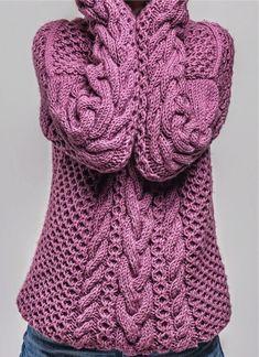 Вяжем Шикарный зимний свитер спицами. Схемы. | Дневник многодетной мамы | Яндекс Дзен