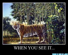 """The hidden tiger"" written in stripes"
