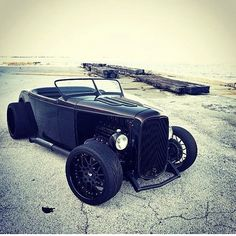 Murdered out 32 Ford Roadster.
