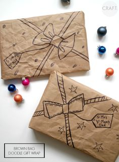 Use brown bags and a Sharpie to make super cute and FUN gift wrap! No bows or gift tags needed!