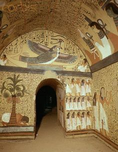 """ancient-egypts-secrets: """" Mural paintings in tomb of Peshedu. Peshedu was a 'Servant In the Place of Truth', Deir el-Medina, during the Ramesside Period. His tomb, which is situated high on the. Ancient Egypt Architecture, Architecture Antique, Architecture Art, Ancient Egypt Fashion, Ancient Egypt History, Ancient Egyptian Paintings, Egyptian Art, Ancient Egyptian Tombs, Ancient Greek"""