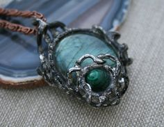 labradorite pendant malachite pendant flashy by Blacksmithworkshop