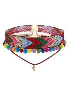 Colorful Crochet Leaf Arrow Choker Necklace - COLORFUL