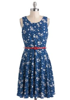What Friends Are Fleur Dress - Blue, White, Floral, Belted, A-line, Sleeveless, Mid-length, Daytime Party